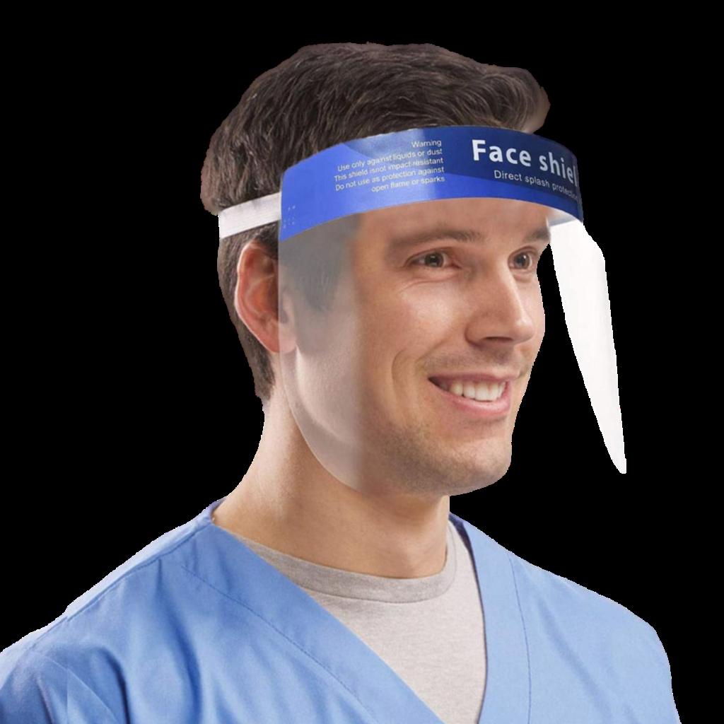 Man Wearing a FaceShield